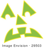 #29503 Royalty-Free Cartoon Clip Art Of A Green Pumpkin Face Glowing In The Dark
