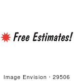 #29506 Royalty-Free Cartoon Clip Art Of A &Quot;Free Estimates&Quot; Sign With A Star Burst