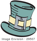 #29507 Royalty-Free Cartoon Clip Art Of A Leprechaun'S Green Tophat With A Buckle