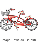 #29508 Royalty-Free Cartoon Clip Art Of A Brand New Red Tandem Bicycle With A Basket On The Front