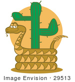 #29513 Royalty-free Cartoon Clip Art of a Rattlesnake Holding Out His Rattle And Curled Around A Desert Cactus by Andy Nortnik