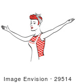 #29514 Royalty-Free Cartoon Clip Art Of A Red Haired Housewife Or Maid Woman Singing And Dancing While Wearing An Apron