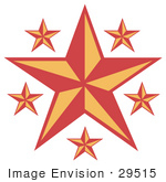 #29515 Royalty-Free Cartoon Clip Art Of A Red And Orange Stars Over A White Background