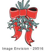 #29516 Royalty-Free Cartoon Clip Art Of A Red Ribbon Hanging Mistletoe Upside Down For People To Kiss Under