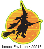 #29517 Royalty-Free Cartoon Clip Art Of An Ugly Witch In The Traditional Black Dress And Pointy Hat Riding On A Broomstick And Silhouetted Against An Orange Starry Night Sky