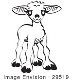 #29519 Royalty-free Cartoon Clip Art of a Little Baby Lamb, Black and White by Andy Nortnik