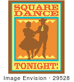 #29528 Royalty-Free Cartoon Clip Art Of A Silhouetted Cowboy Square Dancing With A Woman