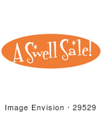 #29529 Royalty-Free Cartoon Clip Art Of A Vintage Orange Sign Reading &Quot;A Swell Sale!&Quot;