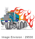 #29530 Royalty-Free Cartoon Clip Art Of A Tough Big Rig Truck Flaming And Trucking Through Snow In Wintry Road Conditions