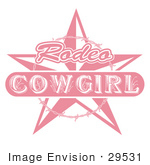 #29531 Royalty-free Cartoon Clip Art of a Pink Rodeo Cowgirl Sign With A Star And Barbed Wire by Andy Nortnik