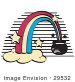 #29532 Royalty-Free Cartoon Clip Art Of A Pot Of Gold At The End Of A Rainbow