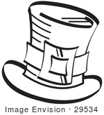 #29534 Royalty-Free Cartoon Clip Art Of A Leprechaun'S Tophat With A Buckle In Black And White