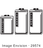 #29574 Royalty-Free Cartoon Clip Art Of Three Storage Canisters In A Kitchen Holding Coffee Sugar And Flour