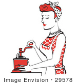 #29578 Royalty-Free Cartoon Clip Art Of A Beautiful Red Haired Housewife Or Maid Woman Using A Manual Coffee Grinder