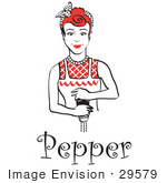 #29579 Royalty-Free Cartoon Clip Art Of A Red Haired Housewife Or Maid Woman Grinding Fresh Pepper While Cooking With Text