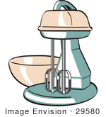 #29580 Royalty-Free Cartoon Clip Art Of A Pink And Green Electric Kitchen Mixer