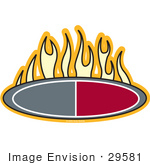 #29581 Royalty-Free Cartoon Clip Art Of A Flames Above An Oval