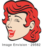 #29582 Royalty-Free Cartoon Clip Art Of A Jolly Red Haired Woman Closing Her Eyes And Laughing