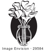 #29584 Royalty-Free Cartoon Clip Art Of A Bunch Of Cream Calla Lilies In A Clear Glass Vase Over A Blue Oval On Easter