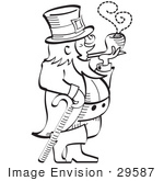 #29587 Royalty-Free Cartoon Clip Art Of A Leprechaun Leaning On A Cane And Smoking A Pipe In Black And White