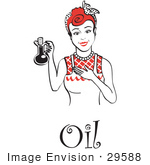 #29588 Royalty-Free Cartoon Clip Art Of A Happy Woman In An Apron Holding Up A Bottle Of Cooking Oil With Text