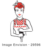 #29596 Royalty-Free Cartoon Clip Art Of A Red Haired Housewife Or Maid Woman Grinding Fresh Pepper While Cooking