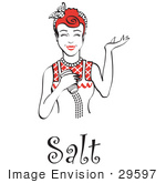 #29597 Royalty-Free Cartoon Clip Art Of A Happy Red Haired Woman Using A Salt Shaker While Cooking With Text