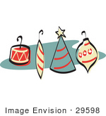 #29598 Royalty-Free Cartoon Clip Art Of A Four Colorful Tree Ornaments With Hooks