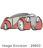 #29603 Royalty-Free Cartoon Clip Art Of A Red And Grey Luxury Sedan Car
