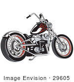 #29605 Royalty-Free Cartoon Clip Art Of A Black Motorcycle With Red Flame Paint Accents