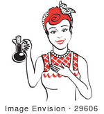 #29606 Royalty-Free Cartoon Clip Art Of A Happy Woman In An Apron Holding Up A Bottle Of Cooking Oil