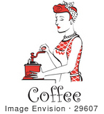 #29607 Royalty-Free Cartoon Clip Art Of A Beautiful Red Haired Housewife Or Maid Woman Using A Manual Coffee Grinder With Text