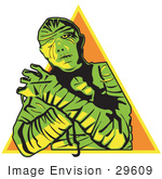 #29609 Royalty-Free Cartoon Clip Art Of A Mummy Wrapped Up With His Arms Crossed In Front Of Him And Cast In Green And Yellow Lighting Over An Orange Triangle