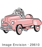 #29610 Royalty-free Cartoon Clip Art of a Pink Metal Pedal Convertible Toy Car by Andy Nortnik