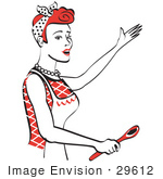 #29612 Royalty-free Cartoon Clip Art of a Happy Red Haired Housewife Or Maid Woman In An Apron, Singing And Using A Spoon While Baking In The Kitchen by Andy Nortnik