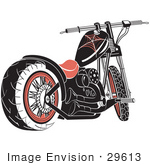 #29613 Royalty-Free Cartoon Clip Art Of A Black Motorcycle With Spider Web Accents
