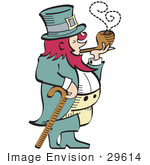 #29614 Royalty-Free Cartoon Clip Art Of A Short Pink Haired Leprechaun Leaning On A Cane And Smoking A Pipe