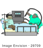 #29709 Clip Art Graphic Of A Nurse Preparing An Iv And Watching As A Proctologist Prepares To Give A Scared Man A Colonoscopy