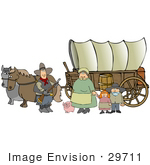 #29711 Clip Art Graphic of a Pioneer Family With Their Pig, Standing By The Horses That Pull Their Covered Wagon While Stopping Along The Oregon Trail by DJArt