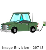#29713 Clip Art Graphic of a Green Electric Car Parked In A Garage And Plugged Into An Electrical Socket To Charge by DJArt