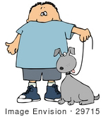 #29715 Clip Art Graphic Of A Happy Boy Walking His Goofy Dog