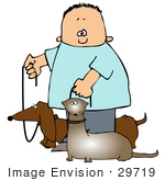 #29719 Clip Art Graphic Of A Happy Boy Walking His Little Wiener Dog And Ferret At The Same Time