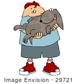 #29721 Clip Art Graphic Of A Happy Boy Holding His Dog In His Arms