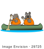 #29725 Clip Art Graphic Of Two Brown Dogs In Life Jackets Paddling A Canoe And Looking Back Over Their Shoulders