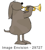 #29727 Clip Art Graphic Of A Talented Brown Dog Blowing On A Trumpet