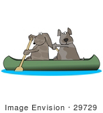 #29729 Clip Art Graphic Of Two Brown Dogs Paddling A Canoe Down A River Looking Back Over Their Shoulders