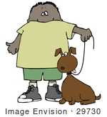 #29730 Clip Art Graphic of a Proud Boy Walking His Dog on a Leash by DJArt