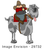 #29732 Clip Art Graphic Of A Cowboy Seated On A Saddle On The Back Of A Super Huge Great Dane Dog