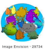 #29734 Clip Art Graphic of 3D Fish Swimming Together by DJArt
