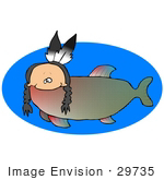 #29735 Clip Art Graphic of a Native Fish With A Human Head With Breads And Feathers And A Fishlike Body by DJArt